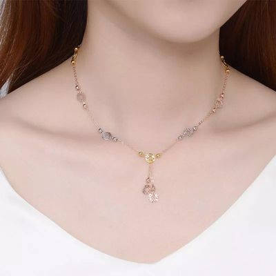 彩银项链女转运铜钱项链镀彩金铂金黄金玫瑰金项链女气质简约时尚