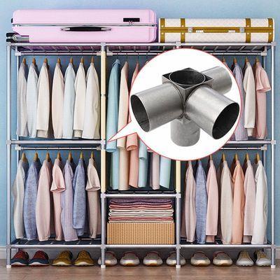 全钢架简易衣柜加厚涤棉布衣柜钢管加粗钢接头加固组装收纳柜衣橱