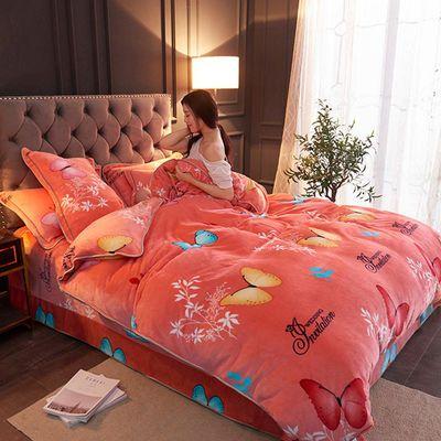 速暖防静电法兰绒单被套床上用品被罩双人冬加厚金貂绒包边双面绒