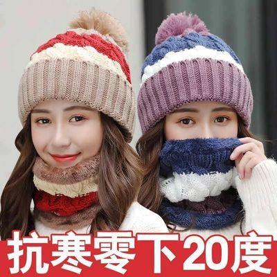 单件/套装帽子女冬天韩版毛线帽潮加绒针织保暖帽棉帽骑车防寒帽主图