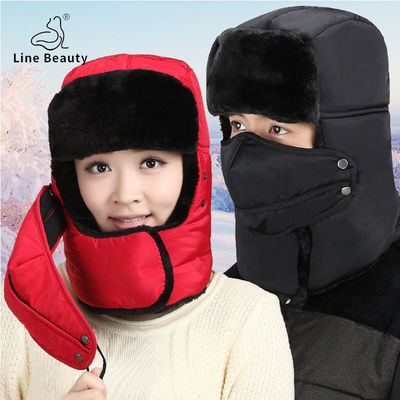 【LB】雷锋帽男女士秋冬季保暖骑车套头帽东北老人加厚棉帽子男主图