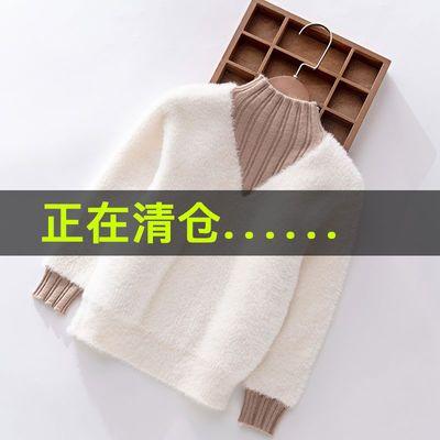 【今日发货】女童水貂绒毛衣春秋款2019新款秋装小女孩套头针织衫