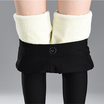 【200斤】羊羔绒高弹力保暖裤女秋冬加绒加厚高腰休闲打底裤大码