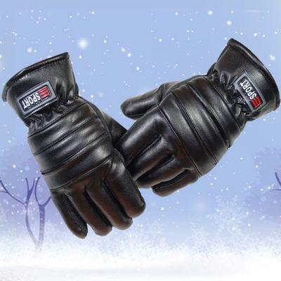 皮手套男士冬季骑行加绒加厚保暖防风寒防水冬天骑车摩托车棉
