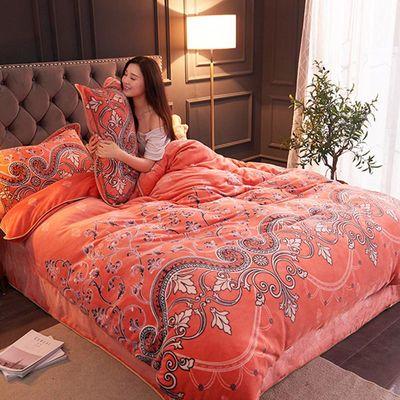 新品加厚防静电法兰绒四件套床上用品被套冬保暖金貂绒包边床裙款