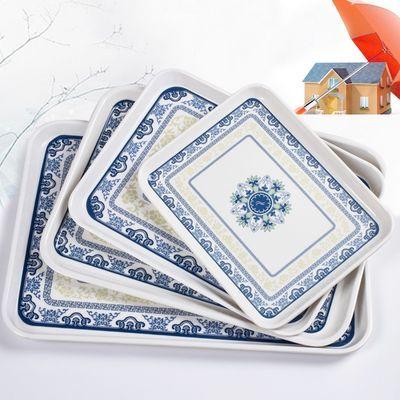 欧式托盘长方形水杯盘子家用创意塑料茶盘餐盘密胺水果盘【3月10日发完】