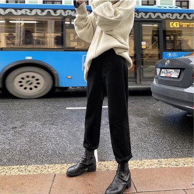 加绒加厚牛仔裤女2019冬新款黑色直筒宽松显瘦高腰阔腿哈伦九分裤