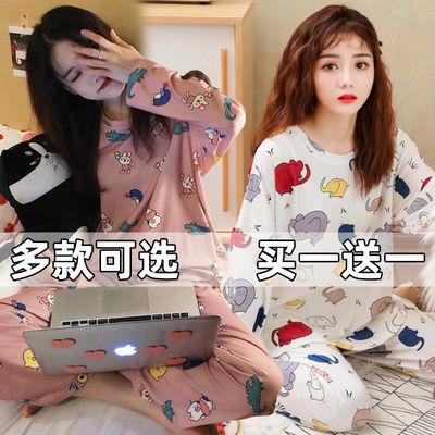 睡衣女长袖春秋冬季家居服休闲韩版女士可爱卡通学生薄款套装夏季