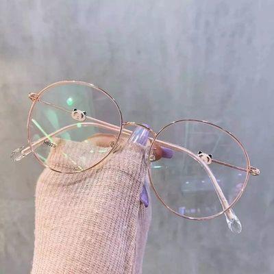 眼镜框女韩版学生防辐射防蓝光近视镜小熊猫款平光无度数眼镜女潮