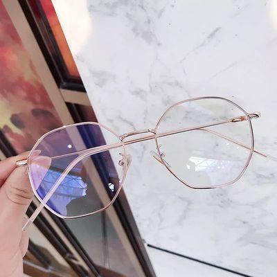 近视眼镜女学生韩版潮可配有度数多边形眼镜框防蓝光辐射平光镜男