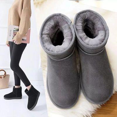 雪地靴女短筒平底加绒短靴冬季保暖棉鞋学生百搭面包鞋加厚雪地棉