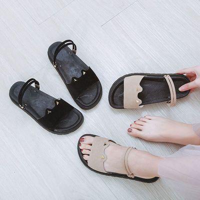夏季凉鞋女学生韩版原宿风百搭平底罗马鞋女外穿厚底两穿凉拖鞋女