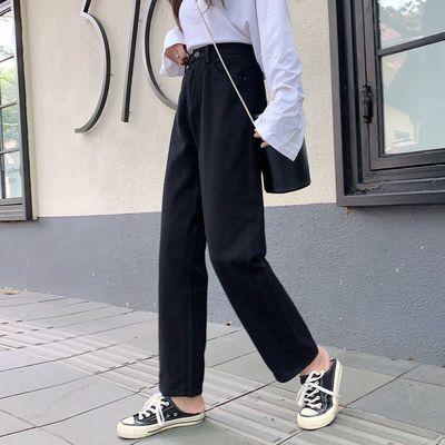 【2019冬季新款】黑色牛仔裤女宽松高腰ins直筒显瘦阔腿九分裤子