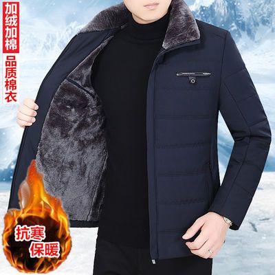 冬季中年男装翻领棉衣加绒加厚保暖外套中老年人棉服爸爸装棉