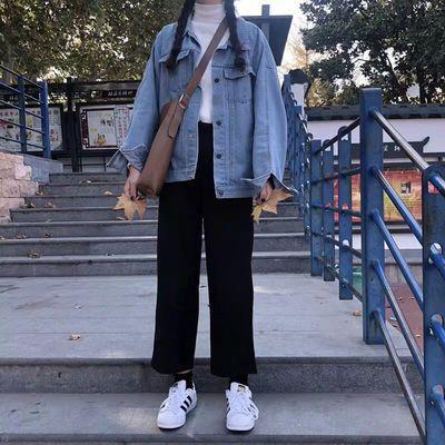 西装裤女黑色直筒学生裤子宽松高腰阔腿裤韩版加厚秋冬九分休闲裤