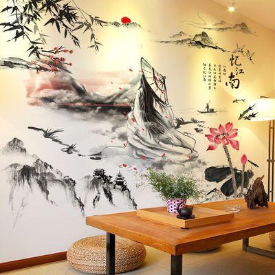 中国风古风3D立体墙贴画贴纸卧室房间背景墙装饰品墙壁纸墙纸自粘