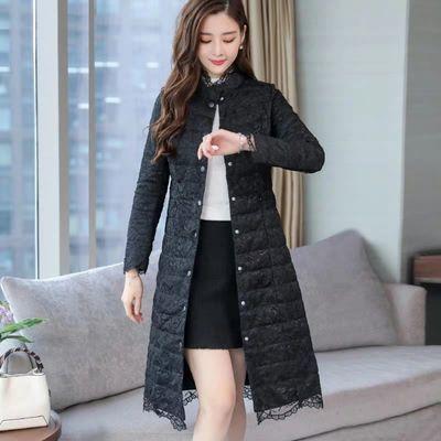 蕾丝羽绒棉服女秋冬中长款2019新款韩版轻薄修身显瘦过膝棉衣外套