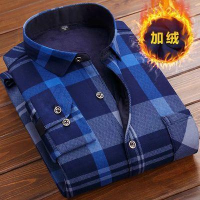 秋冬季新款男士加绒加厚保暖衬衫长袖中老年格子衬衣男士内衣