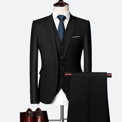 西装套装男士三件套商务职业正装西服韩版修身伴郎新郎结婚礼服春