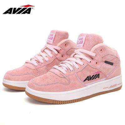 AVIA爱威亚女板鞋高帮保暖冬季运动鞋学生户外厚底鞋情侣款休闲鞋