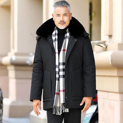 中老年棉衣男士中长款冬季外套棉袄加绒加厚棉服爸爸装派克服男装