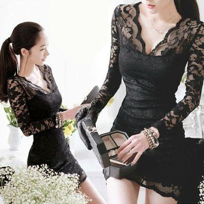 加绒加厚秋冬装新款小个子蕾丝显瘦打底裙S性感冬季连衣裙女