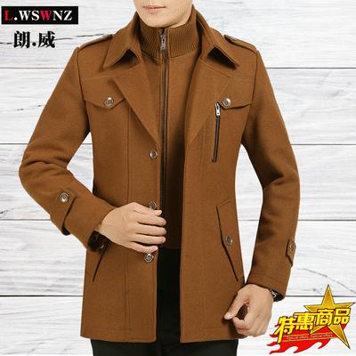 秋冬季羊毛呢大衣男中长款夹克男士毛呢子外套男加棉加厚中年男装