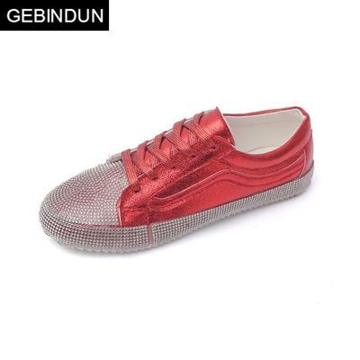 GEBINDU新款韩版ulzzang红色板鞋街拍原宿学生休闲单鞋运动水钻平