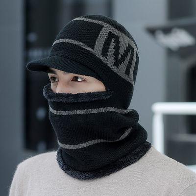 毛线帽子男冬天针织套头帽保暖棉帽骑车防风帽蒙面一体围脖护耳主图