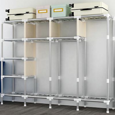布衣柜简易衣柜双人钢管加粗加固非实木布衣柜收纳架柜收纳柜子
