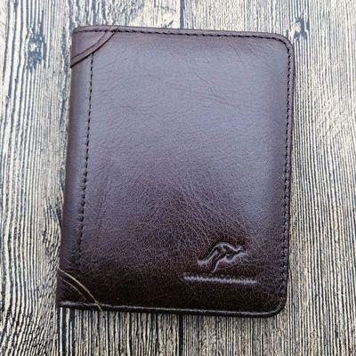 唐道袋鼠正品男士钱包真皮短款竖款头层牛皮钱夹卡包驾驶证皮夹