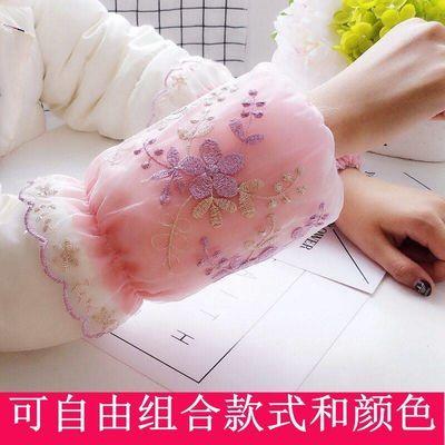韩版成人刺绣网纱蕾丝袖套女士短款学生防污护袖头秋冬季办公袖筒