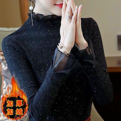 薄款/加绒2019新款蕾丝打底衫女秋冬保暖高领洋气长袖上衣黑色T恤主图