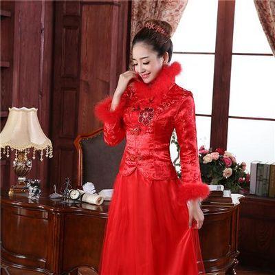 订加大码婚纱礼服女买一送二三件套红色结婚敬酒服新娘旗袍长袖