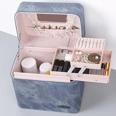 化妆包便携大容量学生韩版化妆箱手提化妆品收纳盒桌面首饰网红随