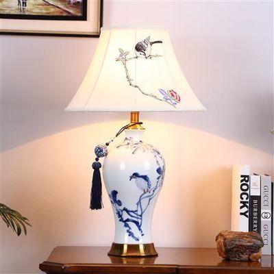 新中式陶瓷台灯卧室床头灯美式古典景德镇青花瓷纯铜温馨装饰客厅