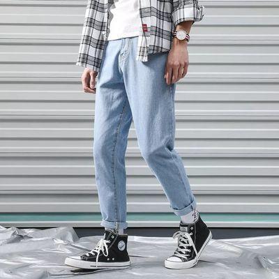 加绒秋冬款宽松直筒ins牛仔裤男士裤子男学生韩版潮流浅蓝色黑色