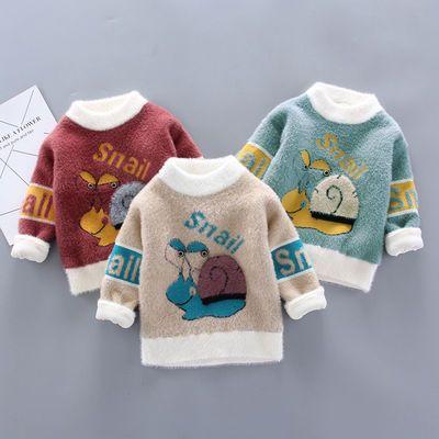 2020儿童秋冬加绒加厚毛衣水貂绒宝宝男女童圆领套头针织婴儿卫衣