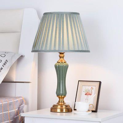 美式简约复古铜陶瓷台灯创意客厅书房灯浪漫温馨可调光卧室床头灯