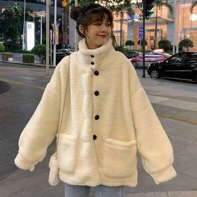 加厚百搭仿羊羔绒外套女2019秋冬季韩版宽松显瘦保暖毛绒立领外衣