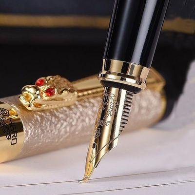 英雄钢笔美工笔龙头金属学生练字办公用书法绘画弯头尖墨水笔刻字
