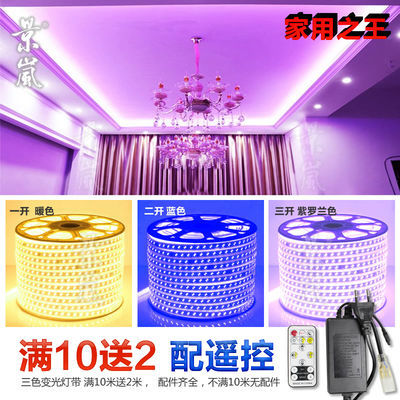 220v超亮家用RGB彩色灯带led灯带七彩16色客厅吊顶户外防水多色