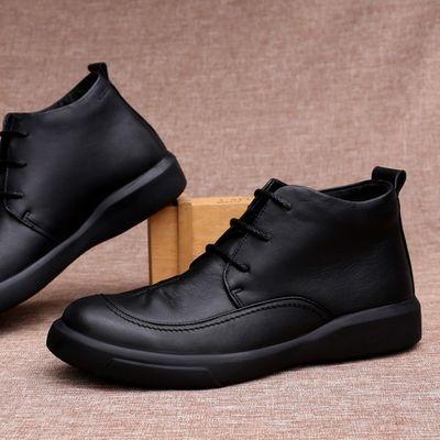 秋冬头层牛皮高帮鞋短靴男商务休闲皮鞋马丁靴棉鞋加绒厚底皮鞋子