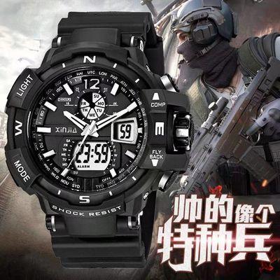 信佳电子表双显冷光电子手表防水多功能登山运动男士潮中学生手表