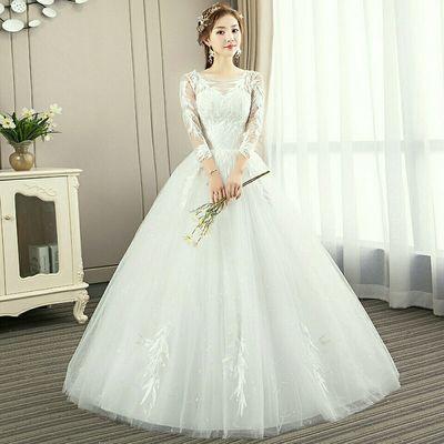 赫本婚纱礼服新款韩式一字肩公主梦幻新娘服装结婚齐地大码显瘦女