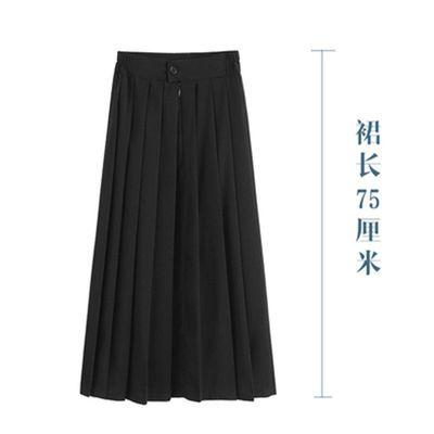 百褶裙女学生韩版高腰黑色中学生a字裙半身裙子中长款超短裙夏季