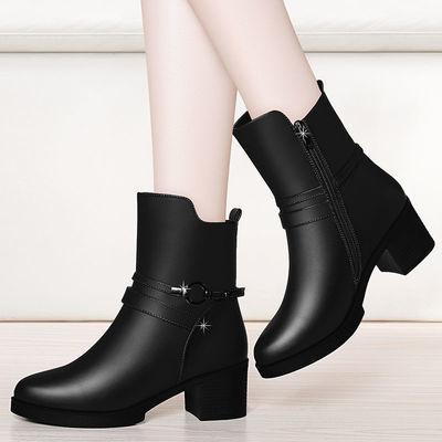 妈妈鞋女鞋2019春秋季粗跟短靴中跟防滑中年女士皮鞋保暖靴中筒靴