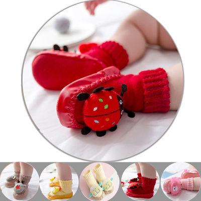 买一送一袜子软底防滑学步鞋男女宝宝儿童加厚室内地板袜连袜鞋春