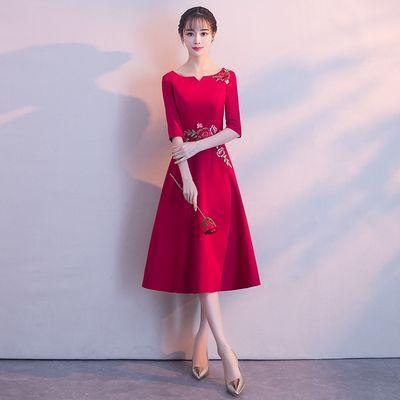 新娘敬酒服2019新款红色修身显瘦短款优雅结婚晚礼服女中长款礼服【3月1日发完】