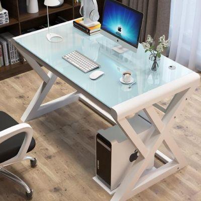 电脑台式桌家用简约现代经济型电脑桌书桌钢化玻璃办公桌学习桌子